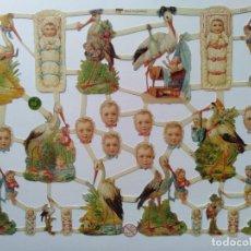 Coleccionismo Cromos troquelados antiguos: GIN. LÁMINA DE CROMOS TROQUELADOS ALEMANES EF 7230 - CIGÜEÑA Y BEBÉS. Lote 252066950