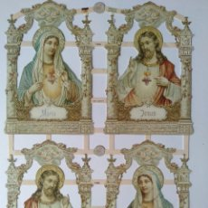 Coleccionismo Cromos troquelados antiguos: GIN. LÁMINA DE CROMOS TROQUELADOS ALEMANES EF 7366 BRILLANTINA - SAGRADO CORAZÓN DE JESÚS Y DE MARÍA. Lote 277001503