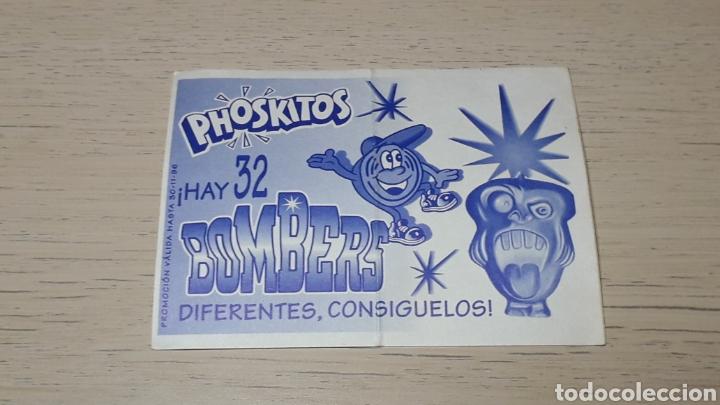 Coleccionismo Cromos troquelados antiguos: Cromo *Bombers* skateboard, promocional premium Phoskitos. Año 1996. - Foto 2 - 254011835