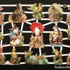 Coleccionismo Cromos troquelados antiguos: RR. LAMINA DE CROMOS TROQUELADOS CON BRILLO Y RELIEVE EF - 7312 - RANITAS. Lote 254059730