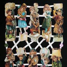 Coleccionismo Cromos troquelados antiguos: RR. LAMINA DE CROMOS TROQUELADOS CON BRILLO Y RELIEVE EF - 7320 - NIÑOS VICTORIANOS Y PROFESIONES. Lote 254060330