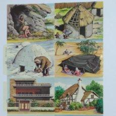 Coleccionismo Cromos troquelados antiguos: GIN. LÁMINA DE CROMOS TROQUELADOS INGLESES MLP ANTIGUA 1623 PARTE IZQUIERDA - ARQUITECTURA VIVIENDAS. Lote 258049225