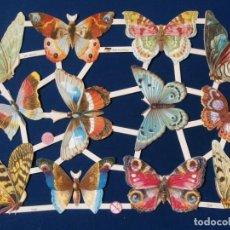 Coleccionismo Cromos troquelados antiguos: LAMINA CROMOS TROQUELADOS EF- 7408. MARIPOSAS. RELIEVE Y BRILLO. Lote 288104963