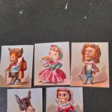 Coleccionismo Cromos troquelados antiguos: 5 ANTIGUOS CROMOS TROQUELADOS, CARICATURAS. Lote 288187178
