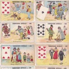 Coleccionismo Cromos troquelados antiguos: 13 CROMOS DE POKER FINALES SIGLO XIX CORDONNERIE GENERALES LYON FRANCIA 7X11CTMS. Lote 295892088