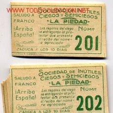 Cupones ONCE: 2 CUPONES ORIGINALES, ORIGINAL CUPON LOCAL DE ALCOY AÑOS 40, 2 UNIDADES ,RB. Lote 10971204