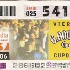 Cupones ONCE: 2 CUPONES ONCE DEL 13 DE OCTUBRE DE 2006. DEDICADOS A SERVIMEDIA.. Lote 3631305