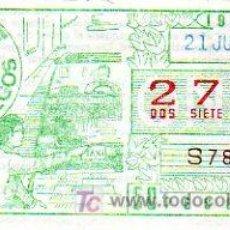 Cupones ONCE: CUPON 21 DE JUNIO 1984 SOLO SE VENDIO EN ALGUNAS PROVINCIAS.. Lote 27550859