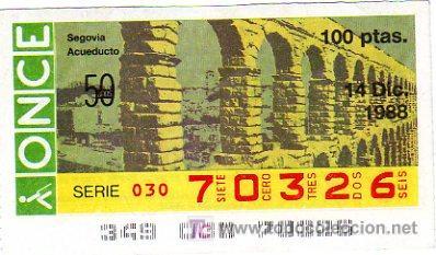 CUPON 14 DE DICIEMBRE 1988 DIA DE LA HUELGA DE LOS TRABAJADORES DE LA ONCE. (Coleccionismo - Lotería - Cupones ONCE)