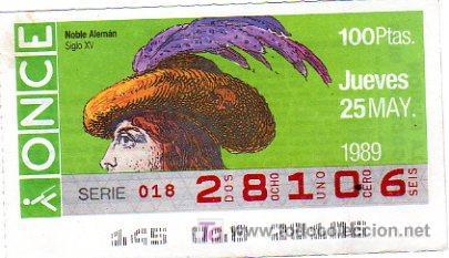 CUPON 25 DE MAYO DEL 1989 VENDIDO SOLAMENTE EN CATALUÑA (Coleccionismo - Lotería - Cupones ONCE)