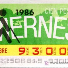 Cupones ONCE: CUPON ONCE - 14 NOVIEMBRE 1986 - HORTENSIA. Lote 4709582
