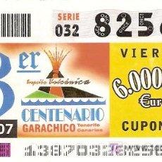 Cupones ONCE: CUPÓN ONCE DEL 18-05-2007 DEDICADO AL 3º CENTENARIO DE LA ERUPCIÓN VOLCÁNICA DE GARACHICO, TENERIFE.. Lote 5117390