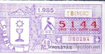 CUPON ONCE - 18 ENERO 1985 - CUENCA (Coleccionismo - Lotería - Cupones ONCE)