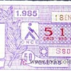 Cupones ONCE: CUPON ONCE - 18 ENERO 1985 - CUENCA. Lote 6691484
