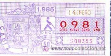 CUPON ONCE - 14 ENERO 1985 - CADIZ (Coleccionismo - Lotería - Cupones ONCE)