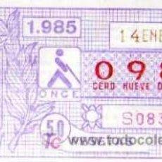 Cupones ONCE: CUPON ONCE - 14 ENERO 1985 - CADIZ. Lote 6691721