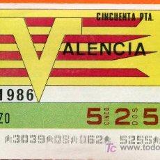 Cupones ONCE: CUPON DEL SORTEO 31 DE MARZO DEL AÑO 1986. Lote 6729796