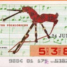 Cupones ONCE: CUPON DEL SORTEO 24 DE JUNIO DEL AÑO 1987. Lote 6729830