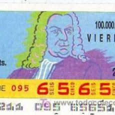Cupones ONCE: CUPON ONCE - 29 JULIO 1988 - BACH - MUSICO. Lote 6830231