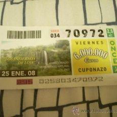 Cupones ONCE: CUPÓN DE LA ONCE DEL 25 DE ENERO DE 2008. DEDICADO A LOS INFIERNOS DE LOJA, GRANADA.. Lote 8300752