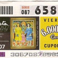 Cupones ONCE: CUPÓN DE LA ONCE DEL 2 DE NOVIEMBRE DE 2007. DEDICADO AL PINTOR RAFAEL ZABALETA.. Lote 8310149