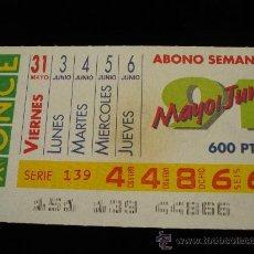 Cupones ONCE: ABONO SEMANAL MAYO JUNIO DEL 1991. Lote 18655765