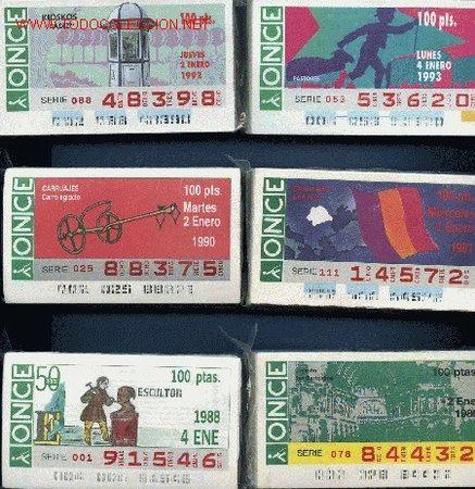 COLECCIONES COMPLETAS EN CUPONES DE LA ONCE DE LOS AÑOS 1988 A 1993 (Coleccionismo - Lotería - Cupones ONCE)