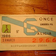 Cupones ONCE: CUPON ONCE 1986 -GALICIA. Lote 10587474