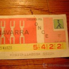 Cupones ONCE: CUPON ONCE 1986 -NAVARRA. Lote 10587749