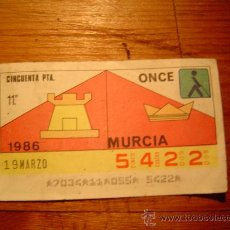 Cupones ONCE: CUPON ONCE 1986 -MURCIA. Lote 10587791