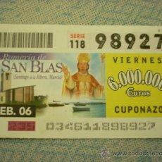 Cupones ONCE: CUPÓN DE LA ONCE DE 3 DEL FEBRERO DE 2006. DEDICADO A SANTIAGO DE LA RIBERA, MURCIA.. Lote 12395620
