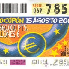 Cupones ONCE: CUPÓN ONCE - 15 AGOSTO 2001 - EUROCUPÓN.. Lote 12577143