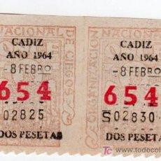 Cupones ONCE: DOS CUPONES DE LA ONCE CADIZ AÑO 1964. Lote 13542224