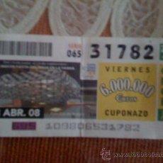 Cupones ONCE: CUPÓN DE LA ONCE DEL 18 DE ABRIL DE 2008. DEDICADO AL PABELLÓN DE ARAGÓN DE EXPO ZARAGOZA 2008.. Lote 13630046