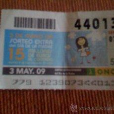Cupones ONCE: CUPÓN DE LA ONCE DEL 3 DE MAYO DE 2009. DEDICADO AL DÍA DE LA MADRE.. Lote 13630090