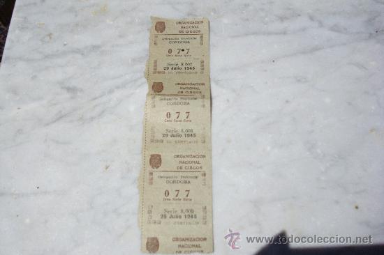 TIRA DE TRES CUPONES CONSECUTIVOS DE LA ONCE DE 1945. (Coleccionismo - Lotería - Cupones ONCE)