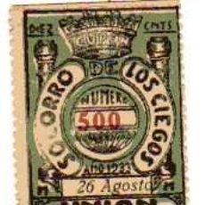 Cupones ONCE: CUPON DE LA UNION DE TRABAJADORES CIEGOS 1933. Lote 24629124