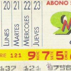 Cupones ONCE: CUPON ONCE 1991.ABONO SEMANAL DEL 17 AL 23 MAYO. Lote 108900312