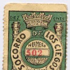 Cupones ONCE: 1933.-SORTEO DE 2 NOVIEMBRE DEL SOCORRO DE LOS CIEGOS. Lote 15730875