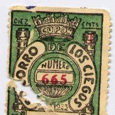 Cupones ONCE: 1933.-SORTEO DE 25 NOVIEMBRE DEL SOCORRO DE LOS CIEGOS. Lote 15730969