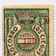 Cupones ONCE: 1933.-SORTEO DE 28 NOVIEMBRE DEL SOCORRO DE LOS CIEGOS. Lote 15731008