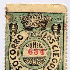Cupones ONCE: 1933.-SORTEO DE 27 OCTUBRE DEL SOCORRO DE LOS CIEGOS. Lote 15731052