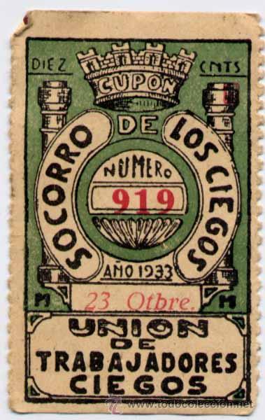 1933.-SORTEO DE 23 OCTUBRE DEL SOCORRO DE LOS CIEGOS (Coleccionismo - Lotería - Cupones ONCE)