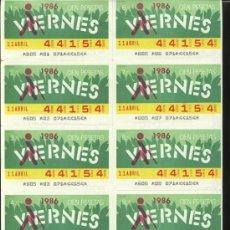 Cupones ONCE: CUPONES ONCE - HOJA 10 CUPONES DE LOS VIERNES ( 11-04-86 ). Lote 24326649