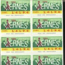 Cupones ONCE: CUPONES ONCE - HOJA 10 CUPONES DE LOS VIERNES ( 25-04-86 ). Lote 21989968