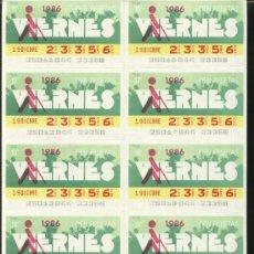 Cupones ONCE: CUPONES ONCE - HOJA 10 CUPONES DE LOS VIERNES ( 19-12-86 ). Lote 24777517