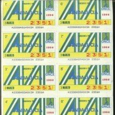 Cupones ONCE: CUPONES ONCE - HOJA 10 CUPONES ( 31-03-86 ) COMUNIDAD, ANDALUCÍA. Lote 23659302