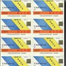 Cupones ONCE: CUPONES ONCE - HOJA 10 CUPONES ( 10-03-86 ) COMUNIDAD, CANARIAS. Lote 27380777