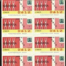Cupones ONCE: CUPONES ONCE - HOJA 10 CUPONES ( 25-03-86 ) COMUNIDAD, NAVARRA. Lote 23314495