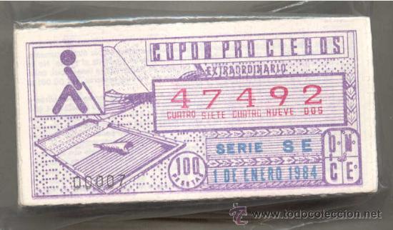 CCC1 COLECCIÓN COMPLETA EN CUPONES DE LA ONCE DEL AÑO 1984 (Coleccionismo - Lotería - Cupones ONCE)